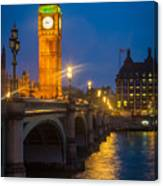 Westminster Bridge At Night Canvas Print