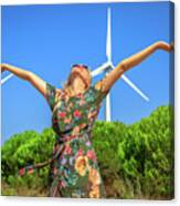 Wind Turbines Woman Canvas Print
