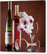 Wine And Orchids Still Life Canvas Print
