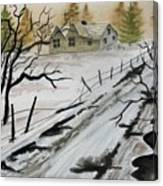 Winter Farmhouse Canvas Print