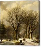 Winter Scene In Reichswald Canvas Print