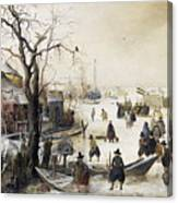 Winter Scene On A Canal Canvas Print