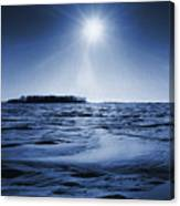 Winter Setting Sun Blue Toned Canvas Print