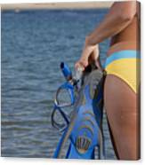 Woman Getting Ready To Go Snorkeling Canvas Print