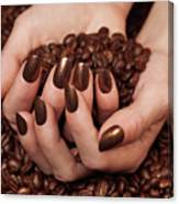 Woman Holding Coffee Beans In Her Hands Canvas Print