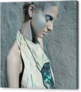 Woman In Ash And Blue Body Paint Canvas Print
