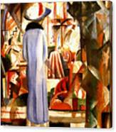 Woman In Front Of A Large Illuminated Window Canvas Print