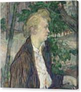 Woman Seated In A Garden Canvas Print