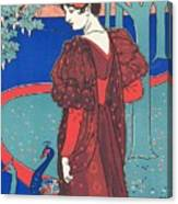 Woman With Peacocks Canvas Print