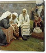 Women Outside The Church At Ruokolahti Canvas Print