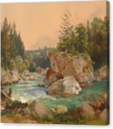 Wooded River Landscape In The Alps Canvas Print