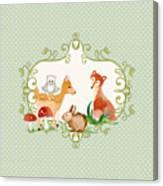 Woodland Fairytale - Animals Deer Owl Fox Bunny N Mushrooms Canvas Print