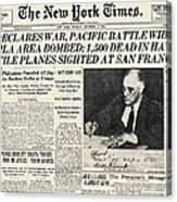 World War II: Headline, 1941 Canvas Print