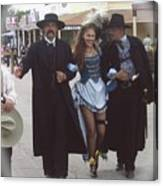 Wyatt Earp  Doc Holiday Escort  Woman  With O.k. Corral In  Background 2004 Canvas Print