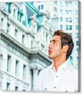 Young American Businessman Looking For Success. Canvas Print