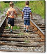 Young Boys On Railway Tracks Canvas Print