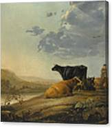 Young Herdsmen With Cows Canvas Print