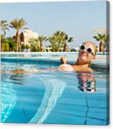 Young Woman Enjoying Warm Water In Pool Canvas Print