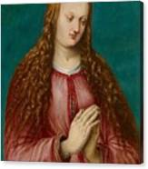 Young Woman Praying Canvas Print