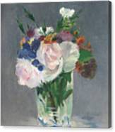 Flowers In A Crystal Vase Canvas Print