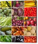 Fruit And Vegetable Collage Canvas Print