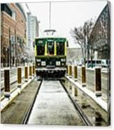 Streetcar Waiting For Passengers In Snowstrom In Uptown Charlott Canvas Print