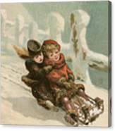 Vintage Christmas Card Canvas Print