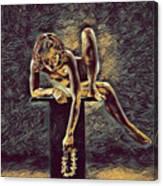 1003s-zac Necklace Of Bones Held By Beautiful Nude Dancer Canvas Print