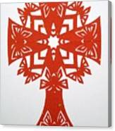 Red Butterfly-cross Canvas Print