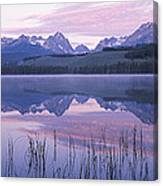 Reflection Of Mountains In A Lake Canvas Print