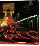 Champs Elysee At Night Canvas Print