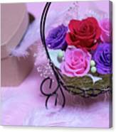 A Gift Of Preservrd Flower And Clay Flower Arrangement, Colorful Canvas Print
