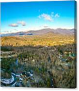 Aerial View On Mountains And Landscape Covered In Snow Canvas Print