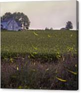 1300 - Fireflies And The House On Hillside Canvas Print