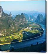 Karst Mountains And Lijiang River Scenery Canvas Print
