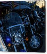 Motorcycles On Main Canvas Print