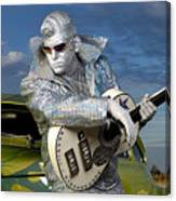 Silver Elvis Canvas Print