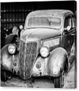 Vintage Autos In Black And White Canvas Print