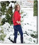Beautiful Young Girl Model In Winter In A Parked Park. In A Red Sweater. Canvas Print