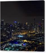 Chicago Night Skyline Aerial Photo Canvas Print