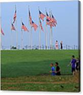 17 Flags 7 People 1 Tree Trunk Canvas Print