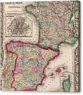 1800s France, Spain And Portugal County Map Color Canvas Print