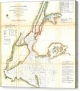 1857 Coast Survey Map Of New York City And Harbor Canvas Print
