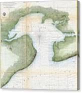 1857  Coast Survey Map Of St. Louis Bay And Shieldsboro Harbor, Mississippi  Canvas Print