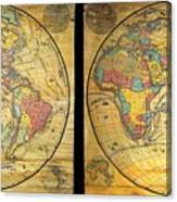1858 Set Of Two Pelton Wall Maps, Western Hemisphere And Eastern Hemisphere  Canvas Print