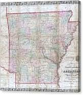 1859 Colton Pocket Map Of Arkansas  Canvas Print