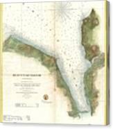 1859 U.s. Coast Survey Chart Or Map Of Hempstead Harbor, Long Island, New York  Canvas Print
