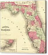 1864 Florida Map Color Canvas Print