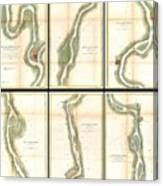 1865 Us Coast Survey Map Of The Mississippi River From Cairo Il To St Marys Mo  Canvas Print