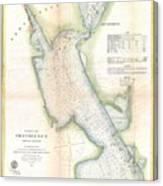 1865 Us Coast Survey Map Or Chart Of Providence Rhode Island Canvas Print